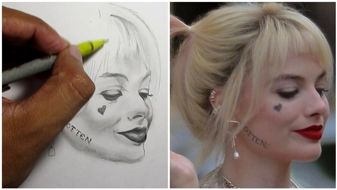 Easy Drawing Margot Robbie From Birds Of Prey One Hour Sketch Harley Quinn Youtube