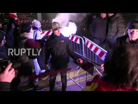 Italy: Flares and tensions at anti-austerity protest outside Milan's La Scala theatre