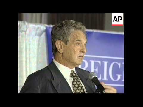 USA: NEW YORK: FINANCIER SOROS WORLD ECONOMIC CRISIS SPEECH