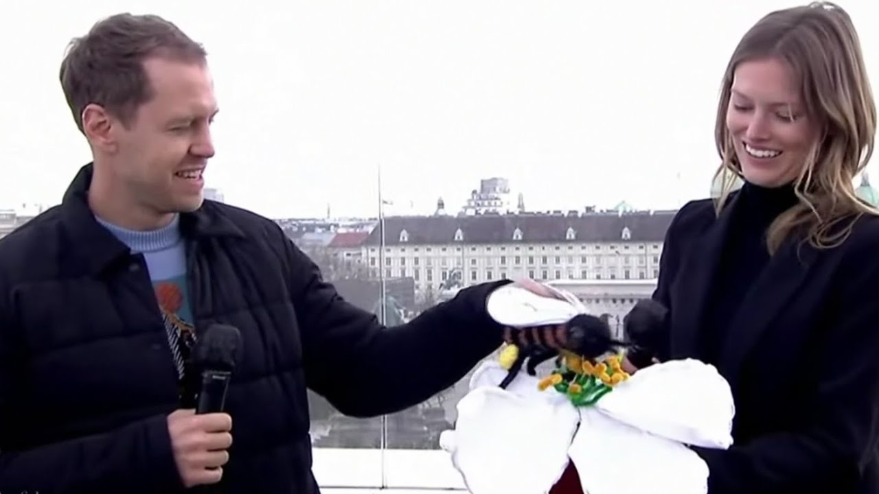 Vettel demonstrates how a bee pollinates a flower