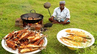 Full Fish Recipe | 22 Full Travelly Fish Fry prepared by uncle/food fun village