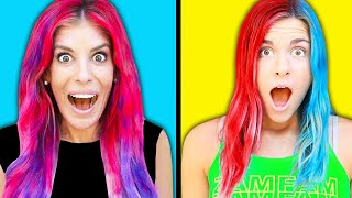 3 Color of Hair Dye Challenge! Rebecca Maddie Challenges