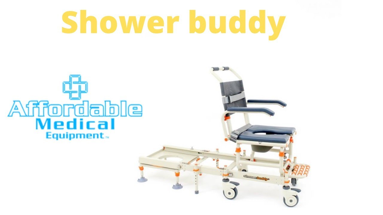 Rolling shower chair by shower buddy roll in lite and solo - YouTube