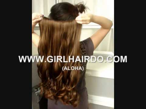 GIRLHAIRDO.COM (ALOHA HAIR EXTENSIONS CLIP IN LIGHT BROWN ) HAIR EXTENSIONS & WIGS ~~ALOHA