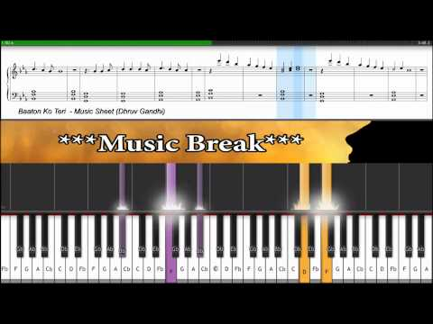 ♫ Baaton Ko Teri (ALL is WELL) || Piano Tutorial + Music Sheet + MIDI with LYRICS