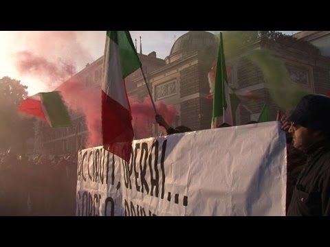 Thousands rally at Rome anti-austerity protest