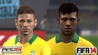 PES 2014 vs FIFA 14 Face Comparison BRASIL (National Team)