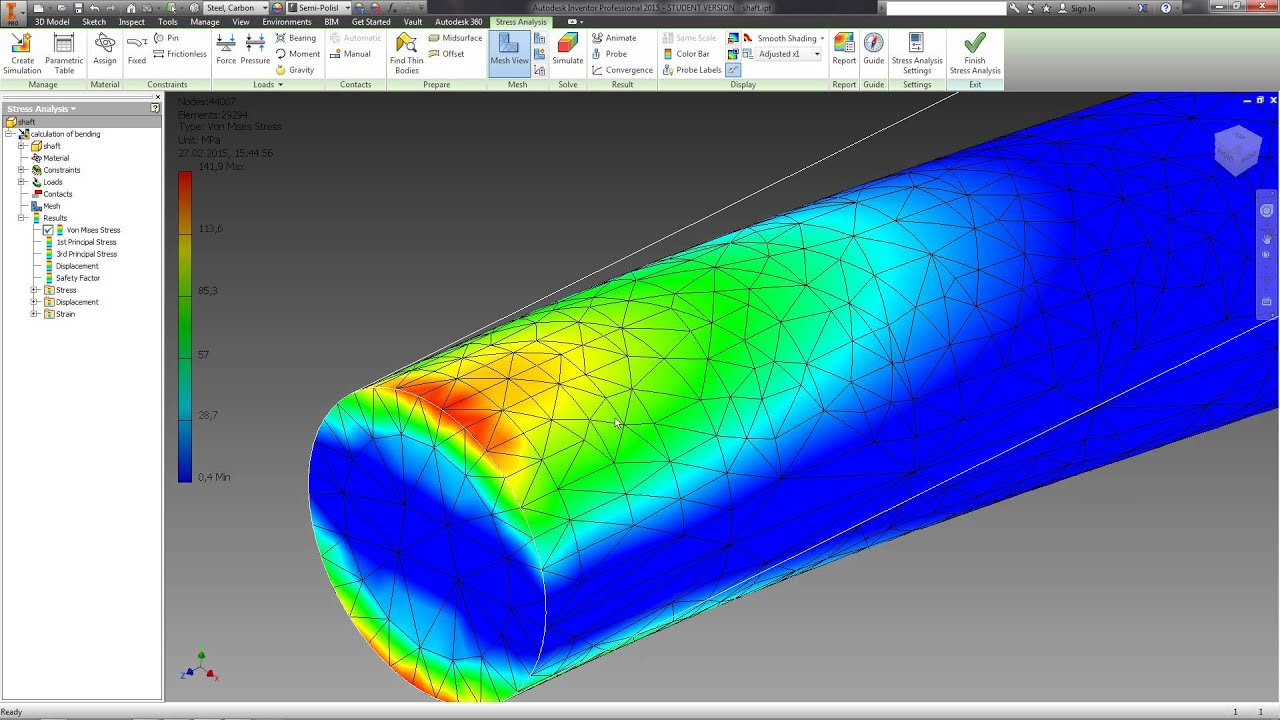 07 analysis of the stress of the part autodesk inventor tutorials rh youtube com Aircraft Autodesk Inventor Tutorials Finite-Element Method