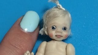 MINIATURE DOLLHOUSE How To Sculpt Polymer Clay Baby Face Head & Body Tutorial Video OOAK DOLLS HOUSE