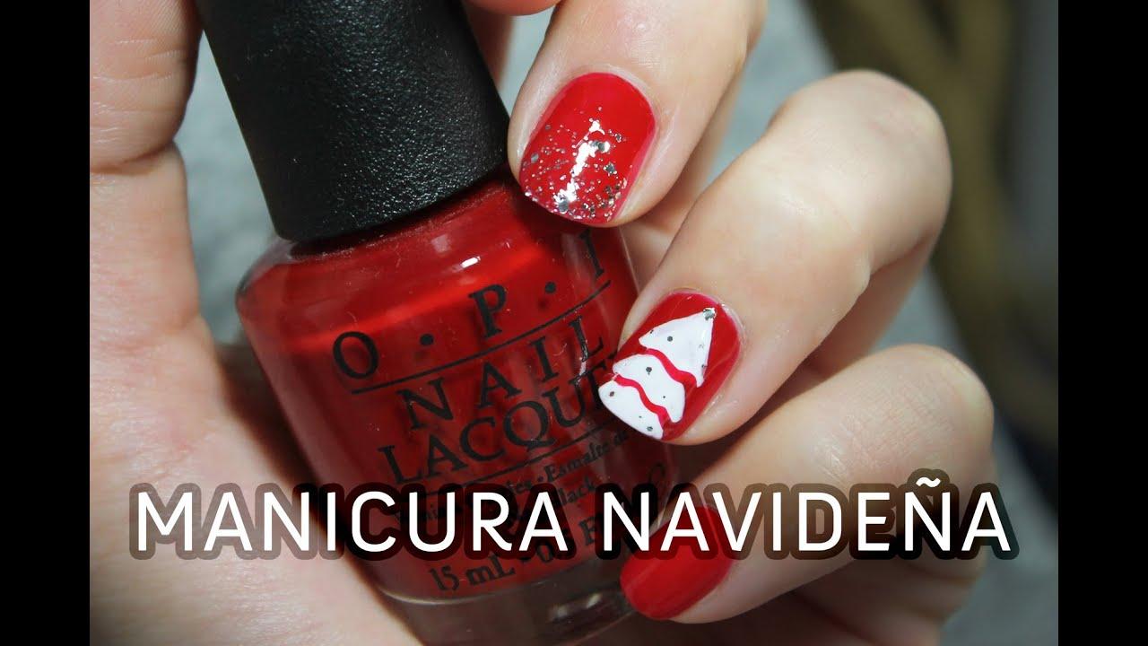 Decoración de uñas fácil para Navidad | Arbolito Nevado - YouTube
