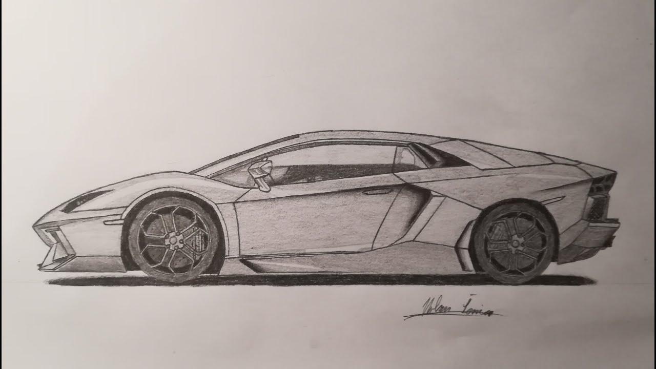 |Lamborghini Aventador| - 2D Car Drawing - YouTube