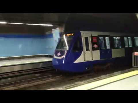 Metro de madrid 9049 con logos del centenario en colonia for Metro ligero colonia jardin