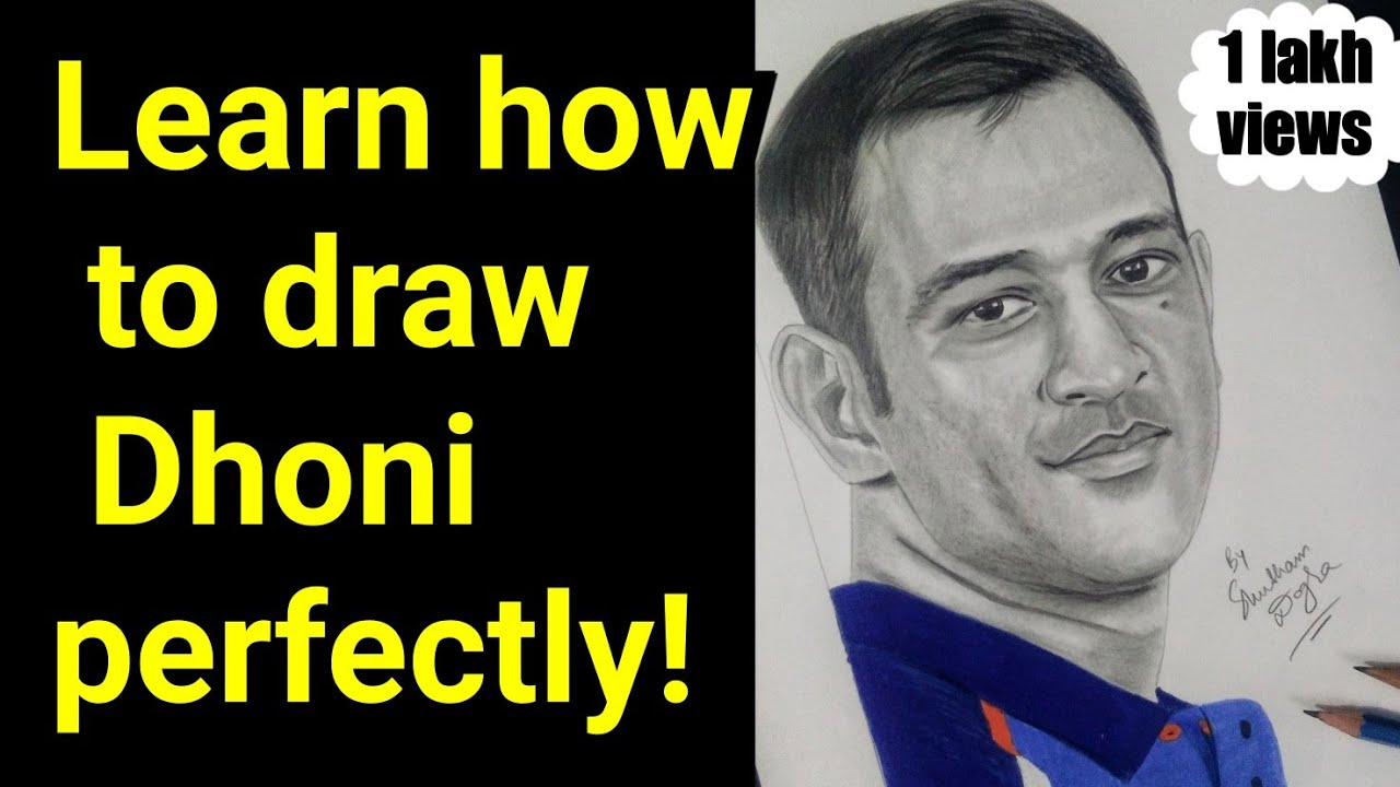 How to draw dhoni step by step sketch tutorial