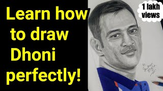 How to draw MS Dhoni Step by Step