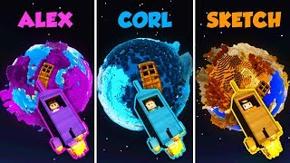 ALEX vs CORL vs SKETCH - PLANET HOUSE in Minecraft! (The Pals)