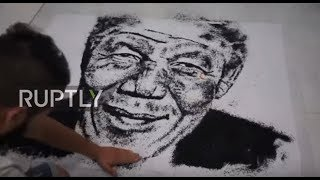 Algerian artist uses coffee, salt and coal to create celebrity drawings *TIMELAPSE*