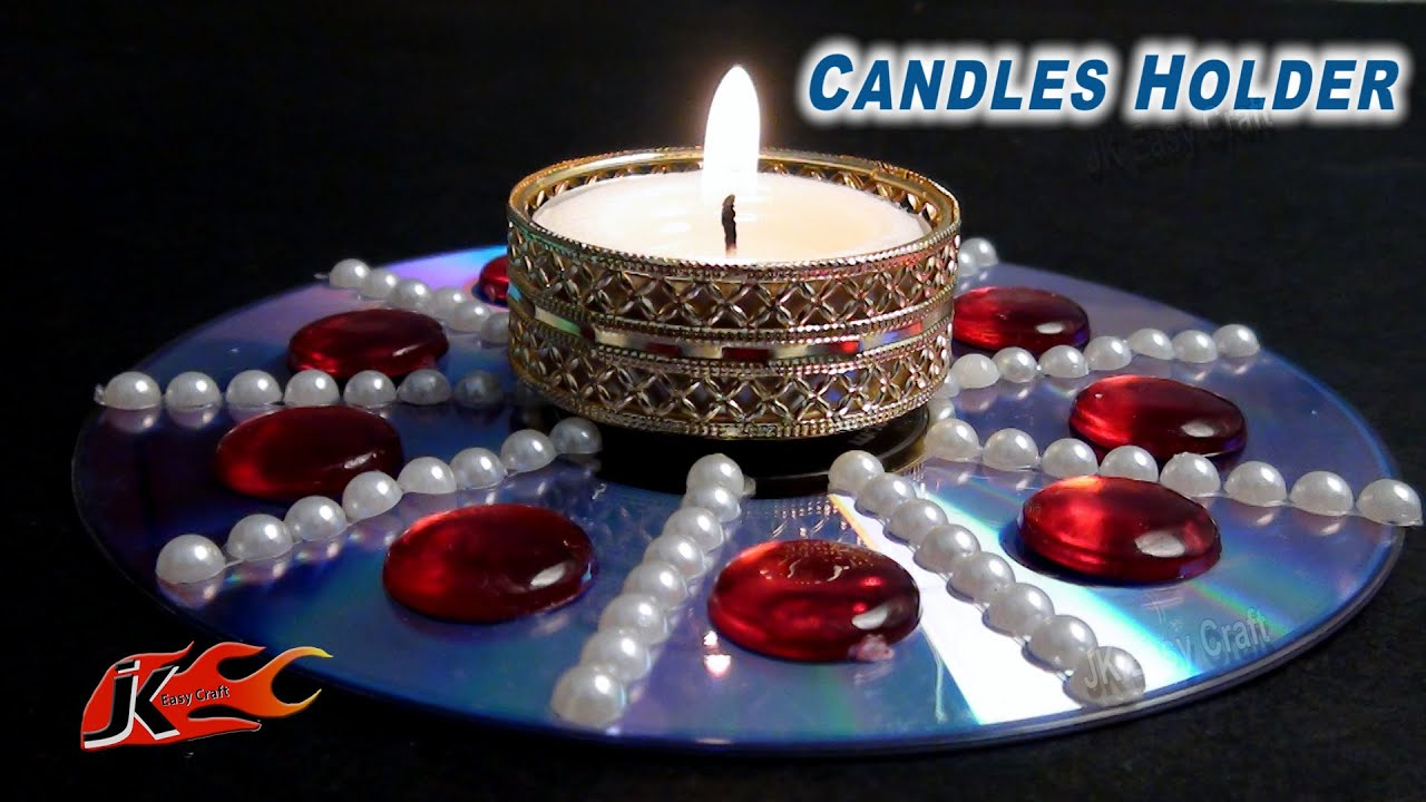 Diy easy candle holder out of waste from dvd best out of for Waste to wealth craft ideas