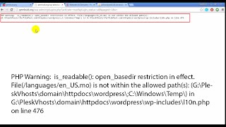 PHP Warning:  is_readable(): open_basedir restriction in effect. wordpress page windows server