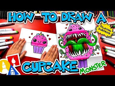 How To Draw A Cute Cupcake Monster Folding Surprise