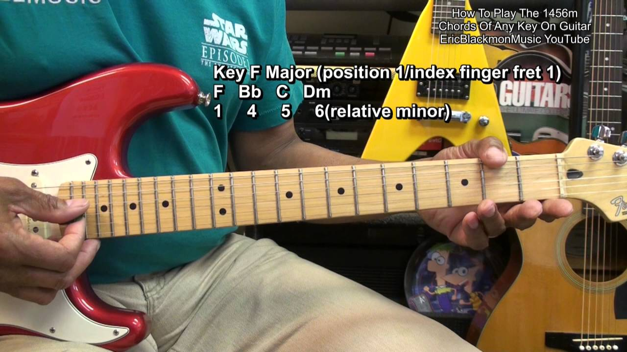 how to play chords up the guitar neck in any key 14 5 6 relative min lesson tutorial youtube. Black Bedroom Furniture Sets. Home Design Ideas