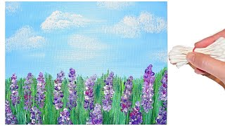 Q-Tip Cotton Swab Lavender Flowers Painting for Beginners Tutorial - Step by Step