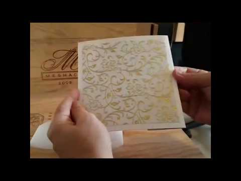 wedding invitations with gold foil floral paper