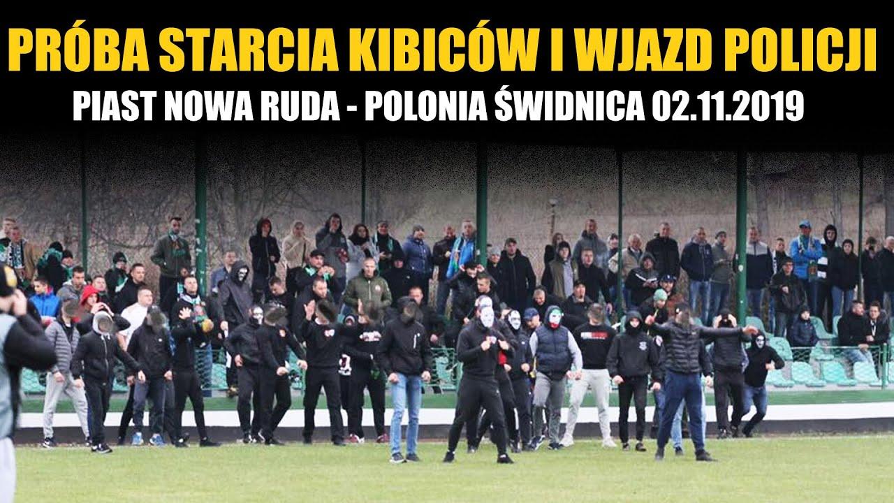 PRÓBA STARCIA KIBICÓW I WJAZD POLICJI: Piast Nowa Ruda - Polonia Świdnica 02.11.2019