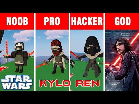 Minecraft NOOB Vs PRO Vs HACKER Vs GOD: BUILD KYLO REN From STAR WARS CHALLENGE In Minecraft