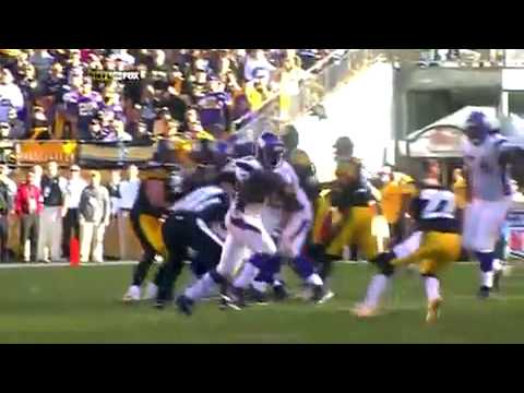 Adrian Peterson runs over William Gay