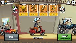 Hill Climb Racing 2 Scooter Maxed Engine Grip Suspension Balance