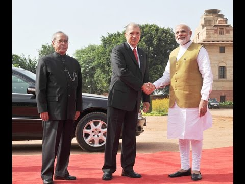 PM Modi with President of Republic of Seychelles, Mr. James Alix Michel at Ceremonial Reception