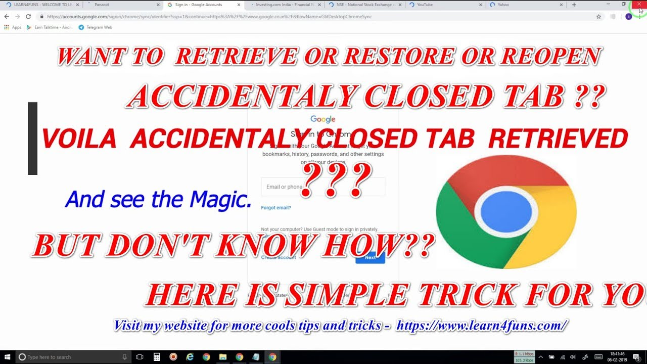 RESTORE OR RETRIEVE RECENTLY CLOSED TAB ON CHROME BROWSER
