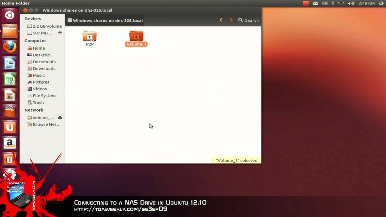 Connecting to a NAS Drive in Ubuntu 12 10