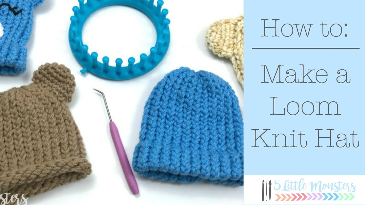 bd82f4aa32a How to Make a Loom Knit Hat - YouTube