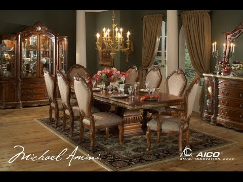 Cortina dining room collection by aico furniture youtube for Dining room tables you tube