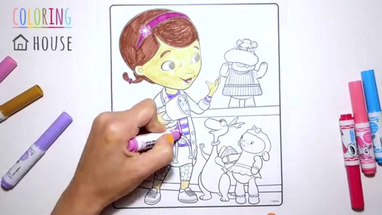 Coloring Doc Mcstuffins With Hallie Lambie Stuffy And