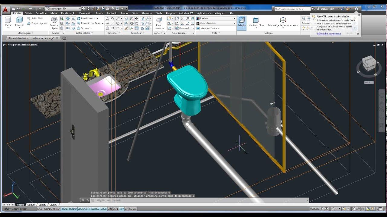 Biblioteca 3D Modelo de Banheiro para projetos de elétrica e  #09C0C1 1916 1036