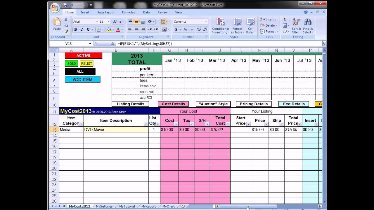 Mycost tutorial ebay fee profit calculating spreadsheet for Free ebay selling template