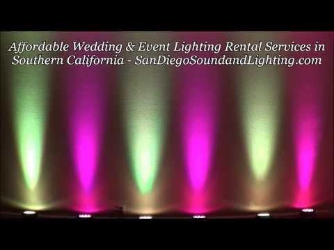 Magenta & Yellow Up Lights Demo, Orange County Event Lighting Rental, Wedding Decorations