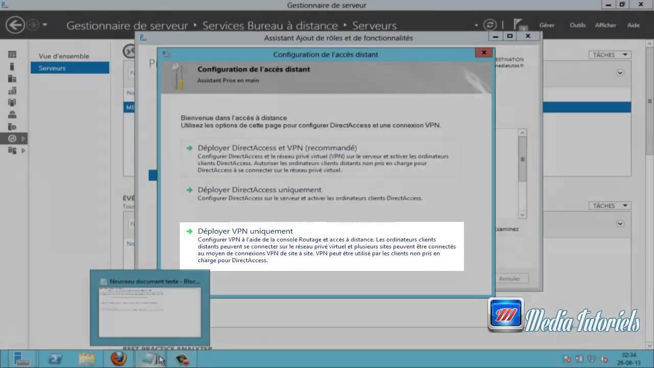 configuration du role daccs distance dans Windows server 2012