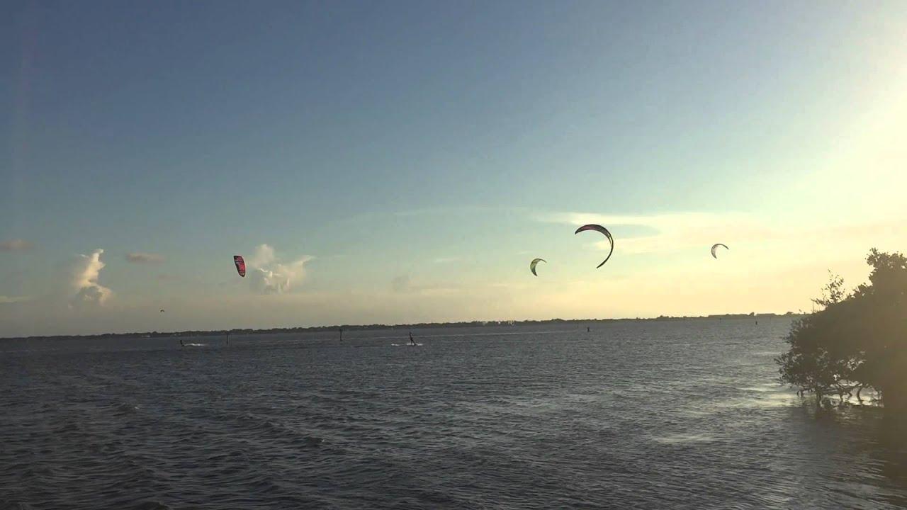 Banana River Kiteboarders Kitesurfing In Cocoa Beach Florida
