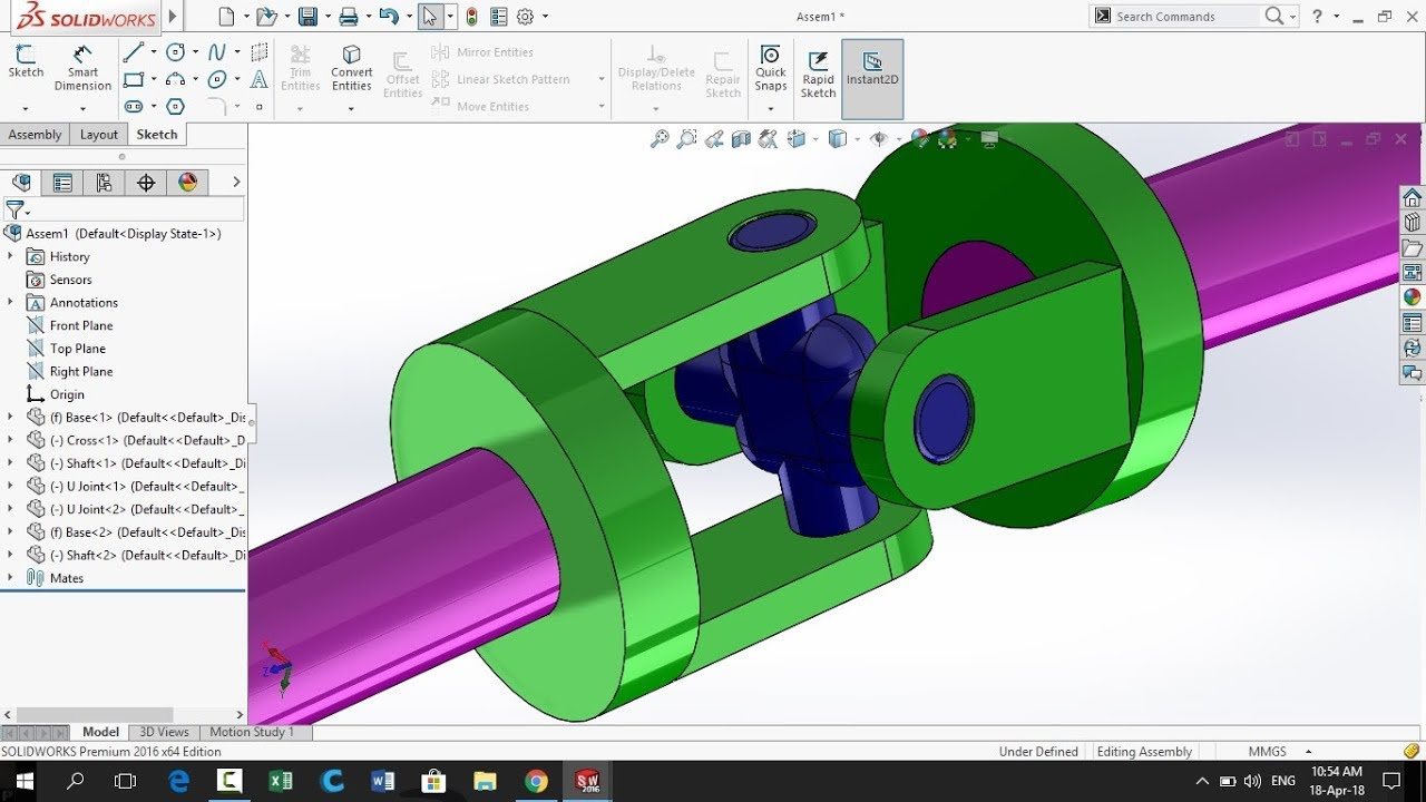 SolidWorks Tutorial: Universal Cross Shaft| Design and Assembly