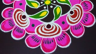 New Flower Rangoli Designs with Pink Color for Deepavali 2018 | Big kolam | Simple muggulu