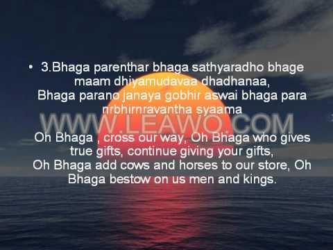 Bhagya Suktam with lyrics/meaning.