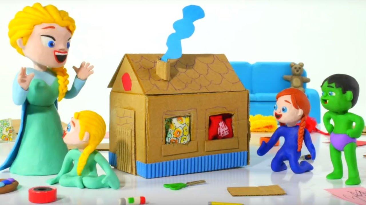 ❤ Kids Building A Cardboard Playhouse ❤