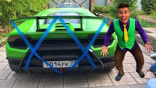 Red Man sealed up Exhaust Pipe with Scotch Tape VS Mr. Joe on Lamborghini Huracan for Kids