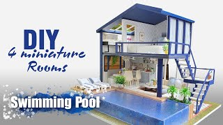 DIY   Miniature Dollhouse kit with 4 miniature Rooms & Swimming Pool