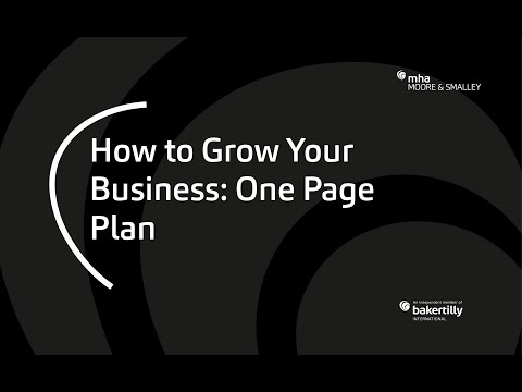How to Grow Your Business: One Page Plan