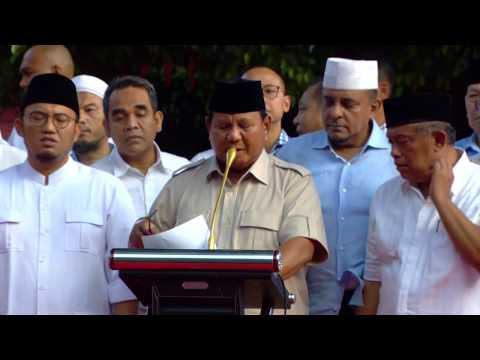 Pidato Calon Presiden Prabowo Tanggapi Hasil Exit Poll & Quick Qount Pilpres 2019