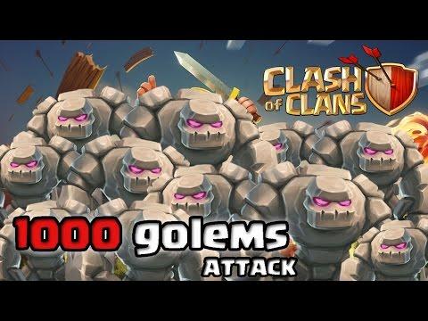 Clash of Clans - 1000 Golems Raid (Massive Gameplay)